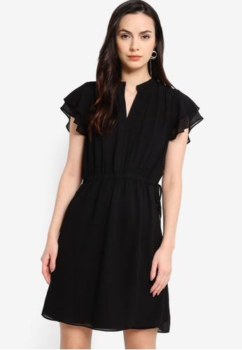 ZALORA WORK black Double Frill Sleeve Mini Dress 60826AA6E3C8D0GS_1