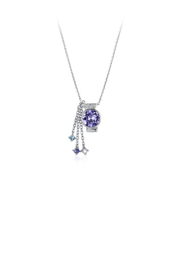 Glamorousky purple 925 Sterling Silver Stylish Aquarius Pendant with Purple Austrian Element Crystal and Necklace E61BCAC67E35DFGS_1