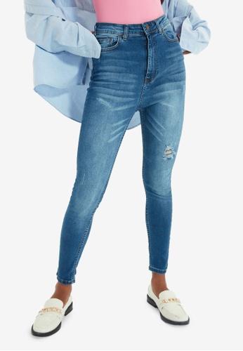 Trendyol blue High Waist Ripped Skinny Jeans 4DE52AA19B52E3GS_1