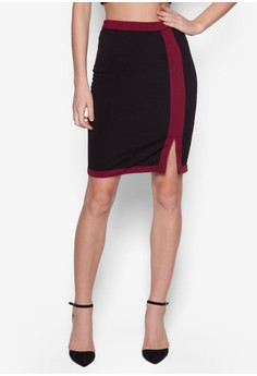 Collection Contrast Slit Midi Skirt