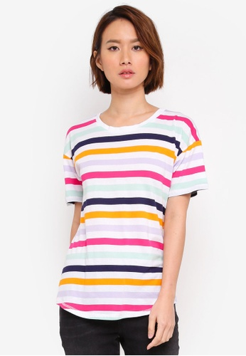 WAREHOUSE multi Rainbow Stripe Casual Fit Tee 5DCF2AAF4E9C7CGS_1