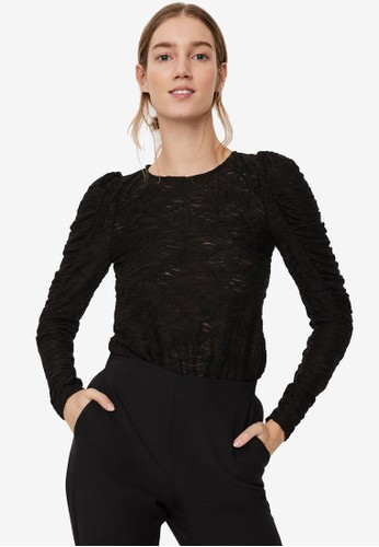 Vero Moda black Judith Lace Puff Top 59737AA93DBBF9GS_1