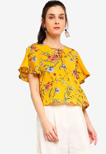 ZALORA 黃色 and 多色 Boxy Top With Flare Sleeves F63BAAA5B40BC6GS_1