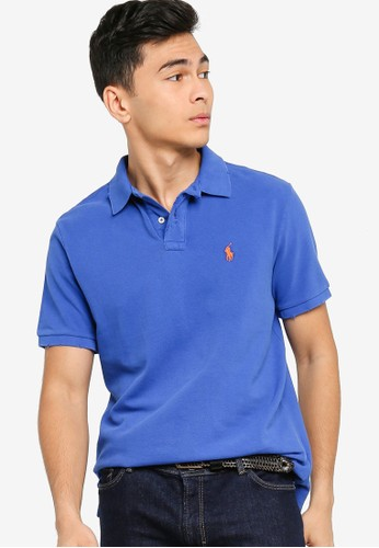 Polo Ralph Lauren blue Short Sleeve Slim Fit Polo Shirt - Weathered Mesh D4D66AA16F4688GS_1