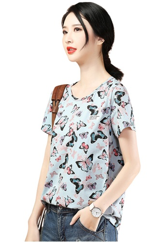 A-IN GIRLS blue Fashion Round Neck Printed T-Shirt 9E6FFAACAD9955GS_1