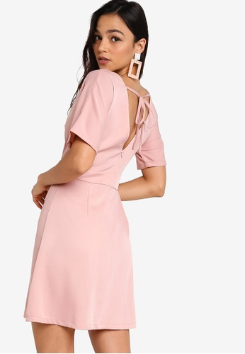 Something Borrowed pink Fit And Flare Dress With Back Tie E9AD9AABBF50B7GS_1