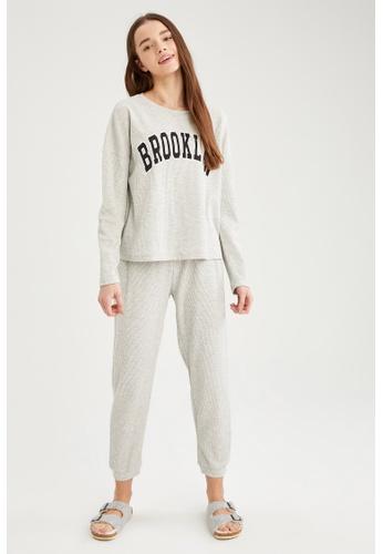 DeFacto grey Woman 2-pieces Homewear Top & Bottom Set C24ABAA3FA9640GS_1