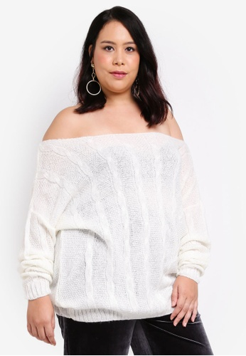 MISSGUIDED white Plus Size Off Shoulder Cable Jumper EE1AAAA8161886GS_1