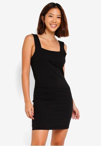 Cotton On black Peyton Square Neck Bodycon Mini Dress 51552AA6057C07GS_1