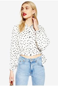 6d19643776b TOPSHOP white Spot Jacquard Cropped Shirt C7731AA4D39174GS 1
