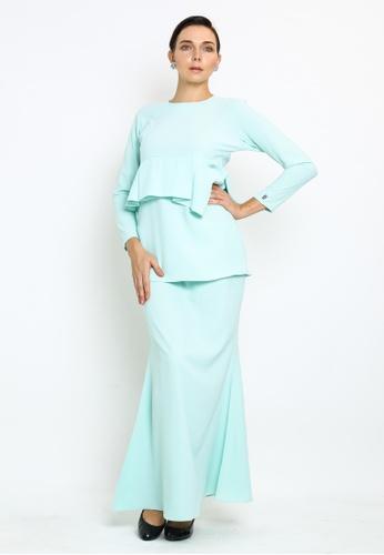 OWLBYND green Carlotta-Kurung Modern style with drape detail 52FE7AA864BEABGS_1