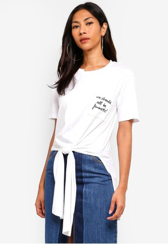 Hopeshow white Side Slit Long T-Shirt With Self-Tie Front 532D9AA60BC99BGS_1