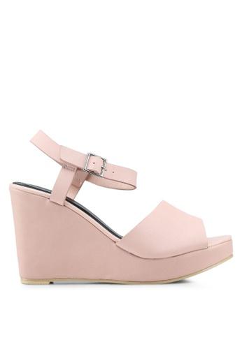 Nose 粉紅色 休閒楔型繞帶涼鞋 FF15DSH263952BGS_1