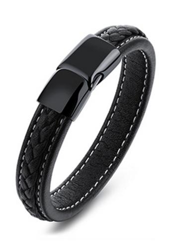 Trendyshop black Men's Leather Bracelet 4BB00AC2A03EB0GS_1