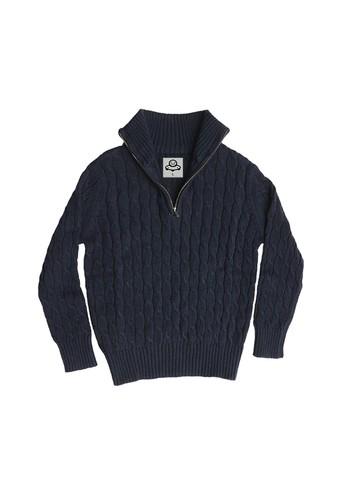 ET Panda navy Extra Terrestrial Panda Navy Cable Knit Sweater 96136KA5145727GS_1