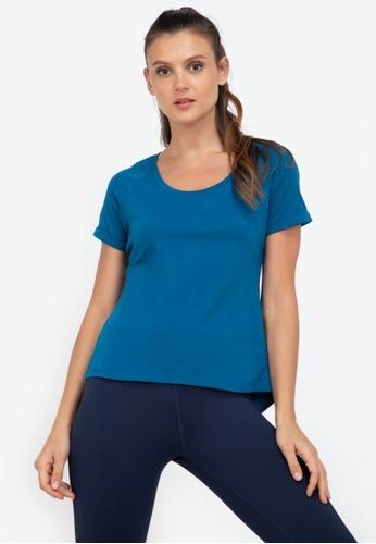 ZALORA ACTIVE blue Open Back Slit Short Sleeve T-Shirt 60359AAD7CE5D3GS_1