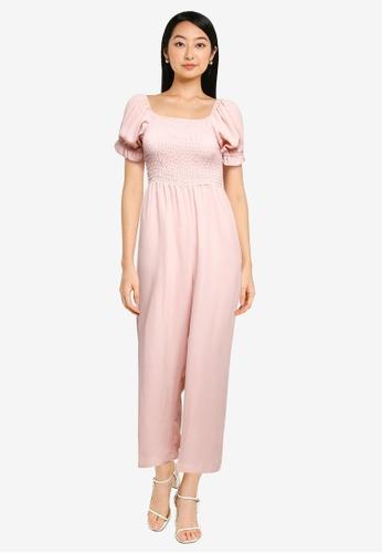 ZALORA BASICS pink Puff Sleeve Jumpsuit CE079AA4C950E5GS_1
