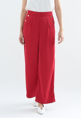 Love Knot red Hibiscus Wide Leg Pants with Buttons (Red) D738FAA943D453GS_1