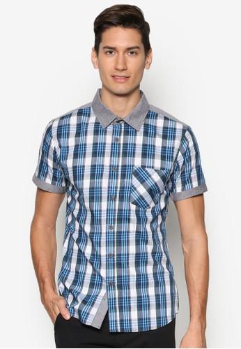 拼色格紋短袖襯衫、 服飾、 襯衫MILANO拼色格紋短袖襯衫最新折價