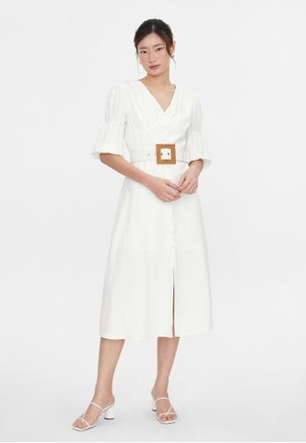 Pomelo white Buckle Belt Puff Sleeves Dress - White CF213AA4EBA30DGS_1
