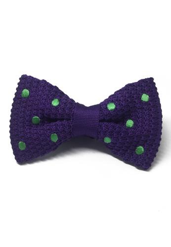 Splice Cufflinks purple Webbed Series Green Polka Dots Purple Knitted Bow Tie SP744AC98UAZSG_1