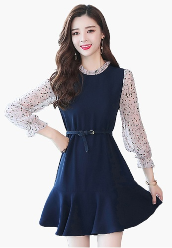 Halo navy Floral Shift Dress With Belt 19A42AA9DE1174GS_1