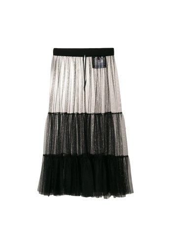 Moncler black Moncler Gamme Rouge Over The Knee Mesh Skirt in Black 5DFD4AA59E0DBFGS_1