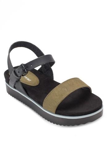 Dworesprit服飾erien 拼色繞踝厚底涼鞋, 女鞋, 鞋