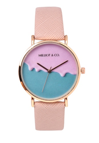 Milliot & Co. pink Effie Rose Gold Leather Strap Watch D51FBAC2284D81GS_1