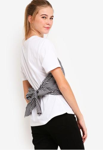 Something Borrowed white Back Tie Bustier Tee D5A03AADFBD938GS_1
