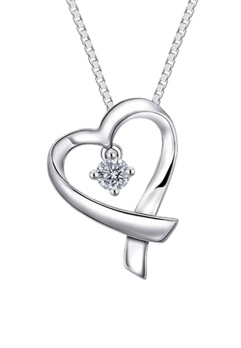 MaBelle silver Leo Diamond 18K/750 White Gold Diamond Heart Pendant With Free Silver Necklace 0398AAC26EBD2CGS_1