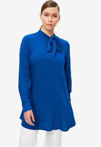 Trendyol 藍色 Bow Tunic上衣 BDD6EAAE3096A1GS_1