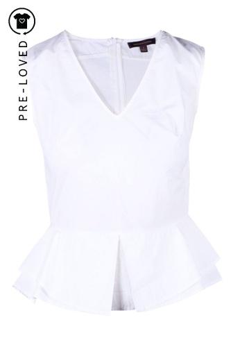 Marchesa white Pre-Loved marchesa White Cotton Peplum Asymetrical Top 8845DAA18D81B8GS_1
