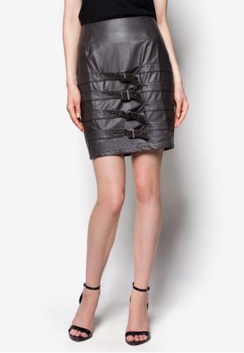 Grunge 多扣環帶esprit 手錶PU鉛筆裙, 服飾, 迷你裙