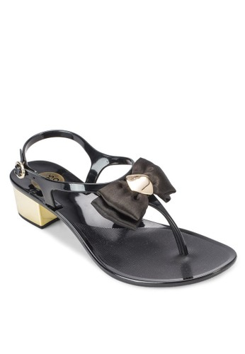 Caliesprit服飾pa 蝴蝶結夾趾中跟涼鞋, 女鞋, 鞋
