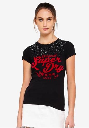 Superdry 黑色 鑽飾Night Entry T恤 44101AACF76E98GS_1