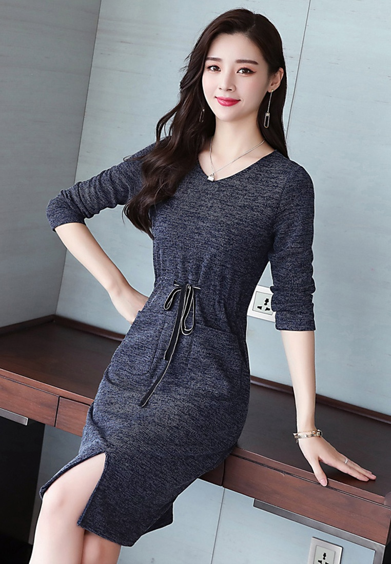 W Halo Dress Knit Slim A Shift Navy dxTwqR64n