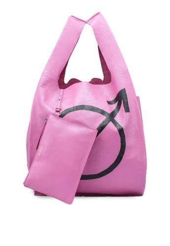 Balenciaga pink Supermarket Tote Bag  (zt) E41C6ACDA34344GS_1