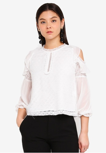 Preen & Proper white Cold Shoulder Lace Blouse With Frills 92097AAEECA37EGS_1
