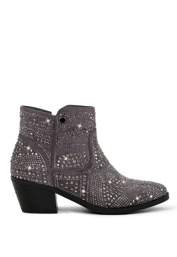London Rag grey Studded Ankle-Length Boots SH1704 31251SH975FBFBGS_1