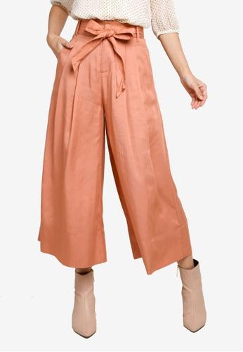 Hopeshow orange Paperbag Waist Flare Capri Pants with Sash Belt 69B83AAD93A38AGS_1