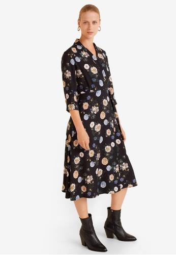 Mango black Floral Print Dress E3EC1AA76FA01AGS_1
