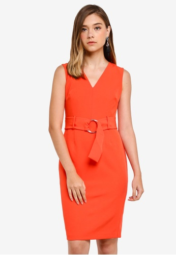 Dorothy Perkins multi Petite Coral Belted Dress 5D722AA400295CGS_1