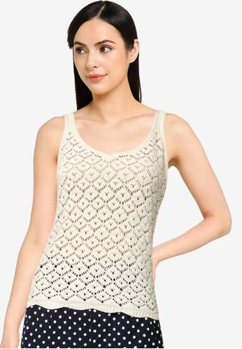 Vero Moda beige Amber V-neck Top 4A649AAD4ED9DFGS_1