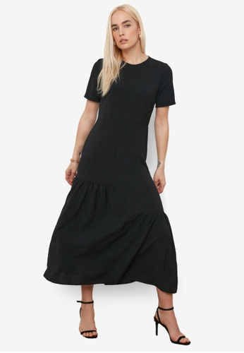 Trendyol black Asymmetrical Gathered Maxi Dress 52DA5AA643A2D9GS_1