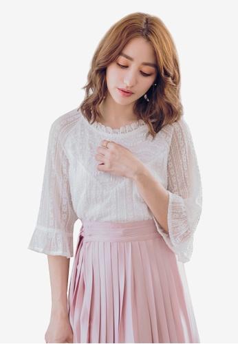 YOCO white Laced Textured Sheer Blouse 689A9AAC535E4DGS_1