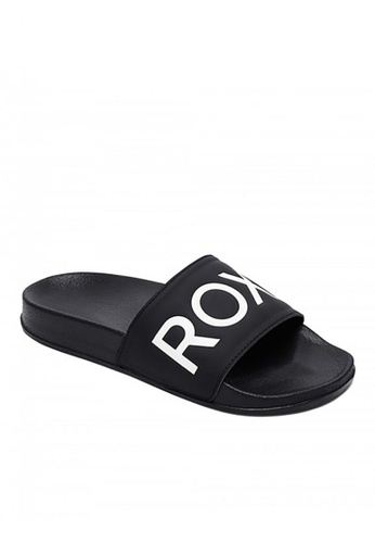 Roxy Slippy Slide III Sliders in Black//White