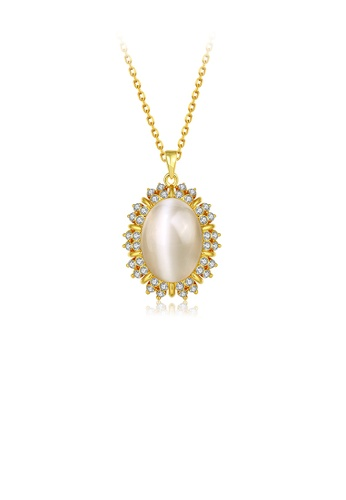 Glamorousky white Elegant Personality Geometric Pendant with Chrysoberyl Cat Eye Opal and Necklace 967E2ACF91D288GS_1