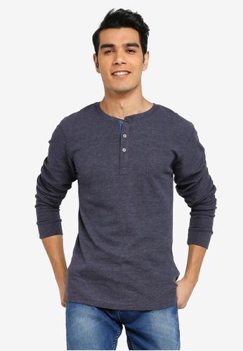 BLEND navy Henley Collar Long Sleeve T-Shirt 7F4DEAACDA367DGS_1