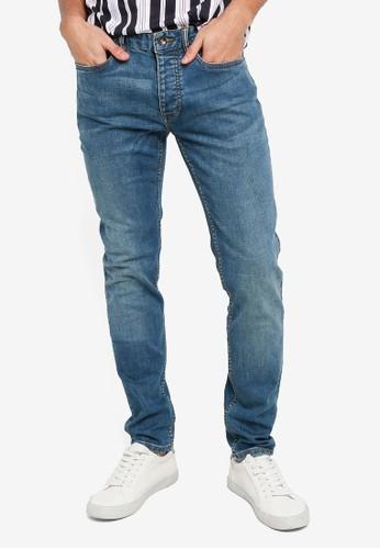 Topman blue Mid Wash Stretch Skinny Jeans 9151DAA18380CBGS_1